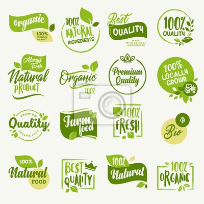 Naklejka Żywność ekologiczna, znaki i elementy świeżego i naturalnego oznakowania produktów rolnych na rynku żywności, e-commerce, promocja produktów ekologicznych, zdrowe życie i wysokiej jakości potrawy i na
