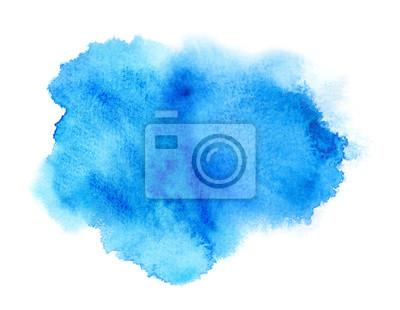 Naklejka Żywy niebieski farba lub atrament plama farby akwarela z plamą
