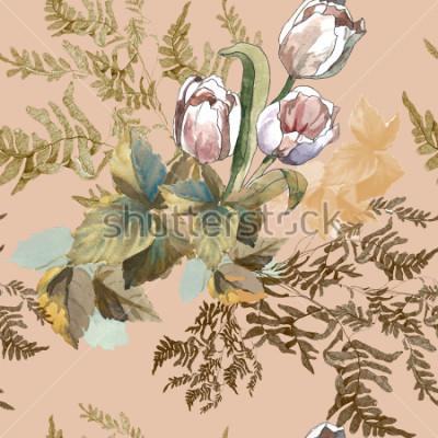Obraz 3 white tulips and grass watercolor on pink beige background seamless pattern for fabrics, paper