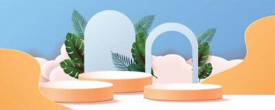Obraz 3d geometric podium mockup leaf tropical netural concept for showcase green background Abstract minimal scene product presentation vector illustation
