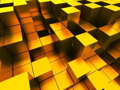 Obraz 3d ilustracją złote kostki