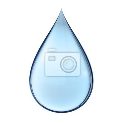 Obraz 3D kropli wody na białym tle pojedyncze z clipping path