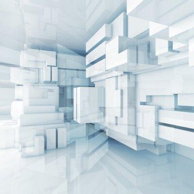 Obraz 3d niebieskie tło high-tech z chaotycznych kostki