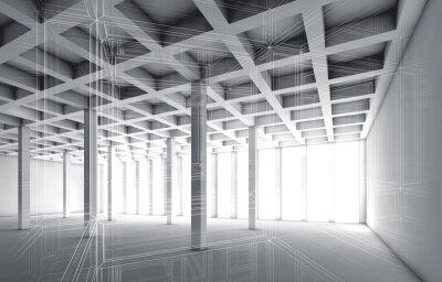 Obraz 3d puste wnętrze ze skutkiem szkieletowym