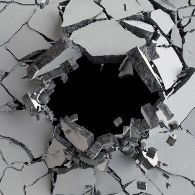 Obraz 3d render, 3d ilustracji, wybuch, pęknięty betonowy mur, bullet hole, zniszczenie, abstrakcyjne tło