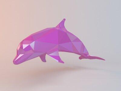 Obraz 3D różowy low poly (Delfin) wewnątrz białym scenie z wysokiej jakości renderowanie być używany jako logo, medal, symbolu, kształtu, godło, ikony, dzieci historii, lub jakiegokolwiek innego wykorzystan
