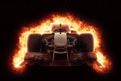 Obraz 3D samochód wyścigowy z ognistym efektem eksplozji