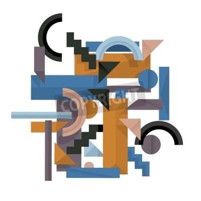 Obraz 3d tło geometryczne w stylu kubizmu