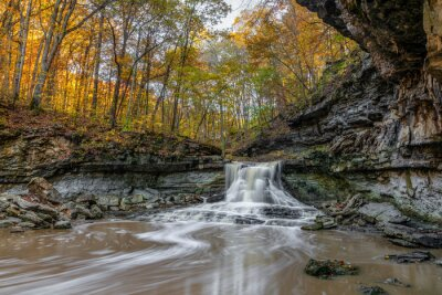 A beautiful waterfall in a rocky gorge surrounded by colorful fall leaves flows in the autumn woods of McCormicks Creek State Park in Owen County Indiana