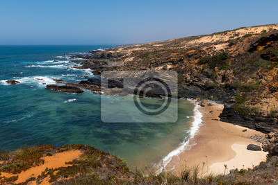 A small secluded beach near Almograve, at the Vicentine Coast, in Alentejo, Portugal.