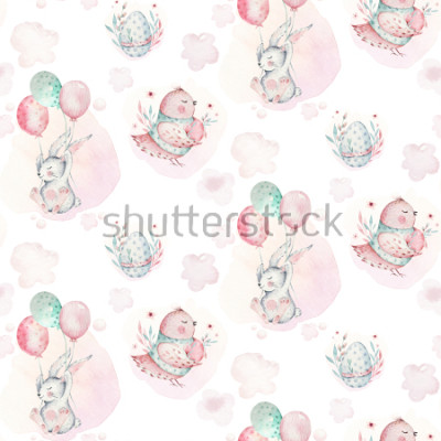 Obraz A watercolor spring illustration of the cute easter baby bunny. Rabbit cartoon animal seamless pattern with balloon nd bird