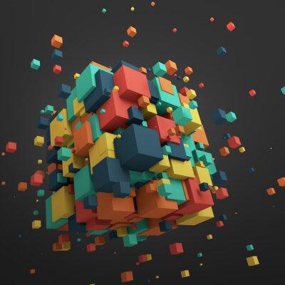 Obraz Abstract 3D rendering latających Kostki.
