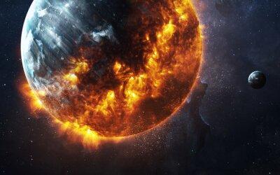 Obraz Abstract apokaliptyczny tle - pieczenie i eksplodujące planety. Ten obraz elementy dostarczone przez NASA