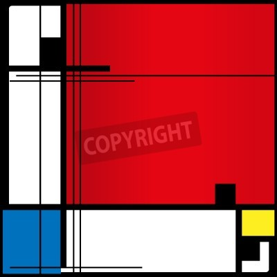 Obraz Abstract background in style of a cubism, red, blue, yellow squares