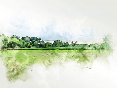 Obraz Abstract colorful shape on tree and field landscape watercolor illustration painting background.