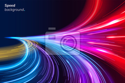Obraz Abstract colorful speed background with lines in shape of track turn. Geometric and dynamic, trendy layout for racing club or sport competition, event poster. Futuristic and motion, race and linear