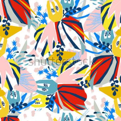 Obraz Abstract floral elementy papieru collage. Ilustracja ogólnego wyciągnąć rękę. Szkic gotowy na współczesny skandynawski płaski projekt - plakat, zaproszenie, karty pocztowe, projekt koszulki. Wzór.