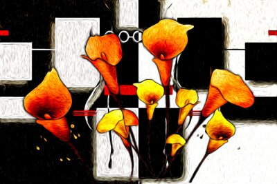 Obraz Abstract flower oil painting