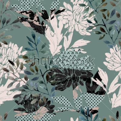 Obraz Abstract kwiatowy wzór. Akwarela kwiaty, liście wypełnione minimalnymi doodle tekstury. Naturalne tło. Ręcznie malowane jesień ilustracja do tkanin, włókienniczych, zawijanie projekt