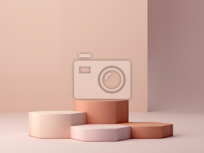 Obraz Abstract minimal scene with geometrical forms. Cylinder podiums in cream colors. Abstract background. Scene to show cosmetic podructs. Showcase, shopfront, display case. 3d render.