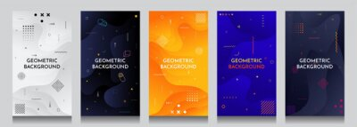 Obraz Abstract motion concept backgrounds set. Fluid and liquid template. Memphis pattern. Color shapes. Design elements for banners, posters, invitations, gift cards, stories, covers, flyers, vouchers.