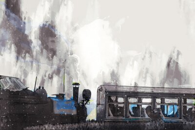 Obraz Abstract painting of vintage train with smoke, digital painting