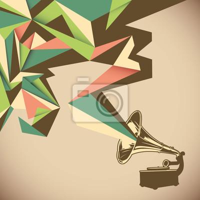 Obraz Abstrakcja kątowa ze starym gramofonie.