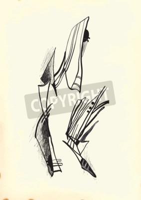 Obraz Abstrakcja przez kubizmu. Ręcznie rysowane ilustracji wektorowych z serii: Art of Line Art. Technika: Cyfrowa rysunku.