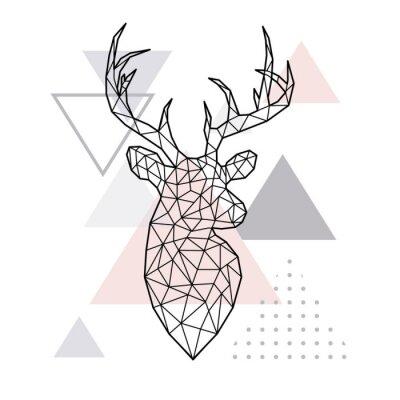 Obraz Abstrakcjonistyczna geometryczna głowa lasowy rogacz. Skandynawski styl. Ilustracji wektorowych.