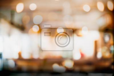 Obraz Abstrakcjonistyczna plama, defocused wewnętrzny sklep z kawą lub kawiarnia dla tła.