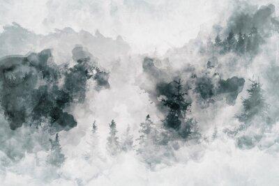 Obraz Abstrakcjonistyczna sztuka pracuje pokazywać ciemnego las z brzoz drzewami. Różne środki przekazu