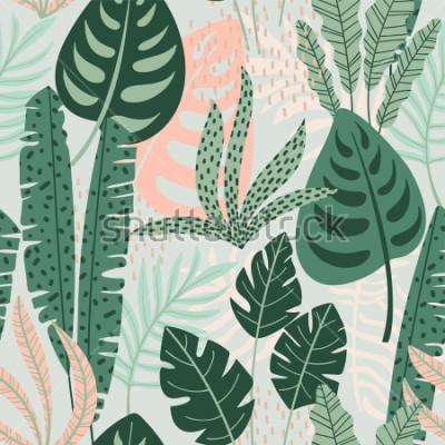 Obraz Abstrakcjonistyczny bezszwowy wzór z tropikalnymi liśćmi. Ręcznie rysuj teksturę. Szablon wektor.