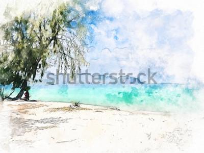 Obraz Abstrakcjonistyczny kolorowy piękny pasmo górskie i woda morska w Krabi, Tajlandia na akwareli ilustracyjnego obrazu tle.