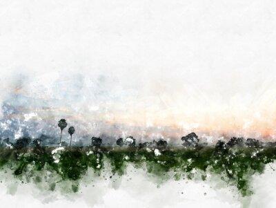 Obraz Abstrakcjonistyczny kolorowy pole krajobraz na akwarela obrazu ilustracyjnym tle.