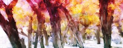 Obraz Abstrakcjonistyczny obraz kolorowy las z żółtymi liśćmi w jesieni