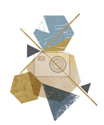 Obraz Abstrakcjonistyczny skład dekoracyjne geometryczne formy z grunge teksturą i złotymi modnymi teksturami. Piękne tło dla każdego rodzaju projektu.