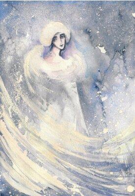 Obraz Abstrakcyjna akwarela ilustracja przedstawiająca portret kobiety zimy