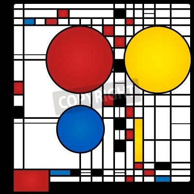 Obraz Abstrakcyjne tło w stylu kubizmu, czerwony, niebieski, żółty i placów rundach