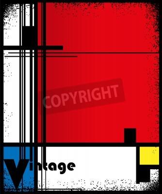 Obraz Abstrakcyjne tło w stylu kubizmu, czerwony, niebieski, żółty kwadratów