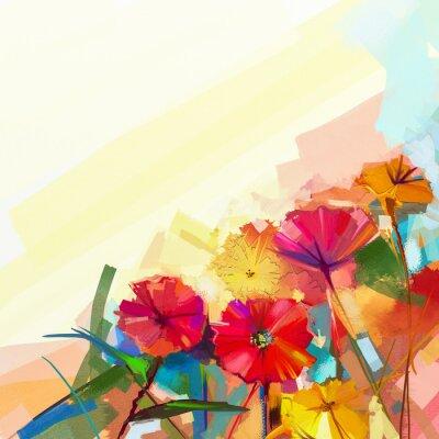 Obraz Abstrakcyjny obraz olejny z wiosennych kwiatów. Martwa natura z żółtym i czerwonym Gerbera kwiat. Kolorowe bukiet kwiatów z lekkim zielono-niebieski kolor tła. Ręcznie malowany kwiatowy nowoczesny sty