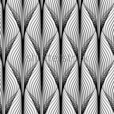 Obraz Abstrakcyjny wzór geometryczny z falistymi liniami. Połączone z tłem. Ornament monochromatyczny. Wersja zrasteryzowana