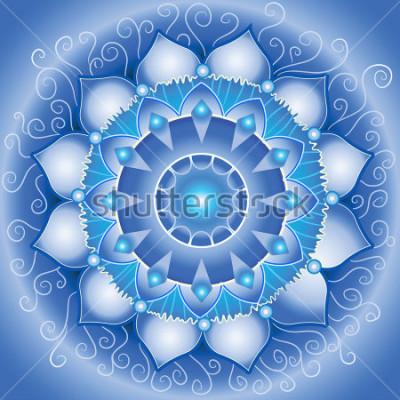 Obraz abstrakcyjny wzór niebieski, mandala vector czakry vishuddha