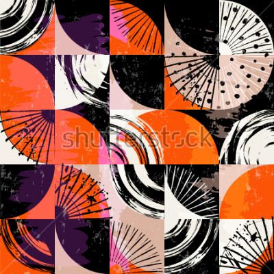 Obraz Abstrakcyjny wzór tła, okręgi, kropki, kwadraty, obrysy i plamy