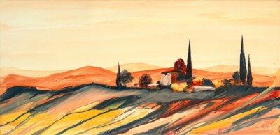 Obraz Acrylfarben Gemälde einer stark farbigen bunten Toskana Landschaft mit Haus, Bäumen und Zypressen mit fließender Farbe, Farbspritzern und Tropfen mit Textfreiraum