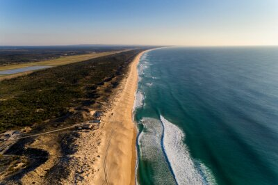 Aerial view of the beautiful Comporta Beach at the Troia Peninsula in Portugal.