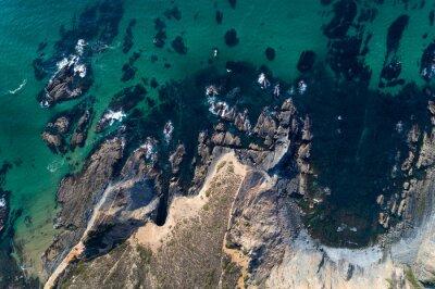 Aerial view of the coastline near the Esteveira Beach in Aljezur, Algarve, Portugal.