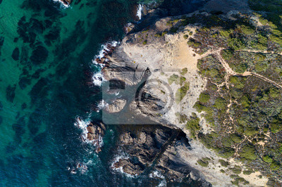 Aerial view of the coastline near the Esteveira Beach in Aljezur, Algarve, Portugal