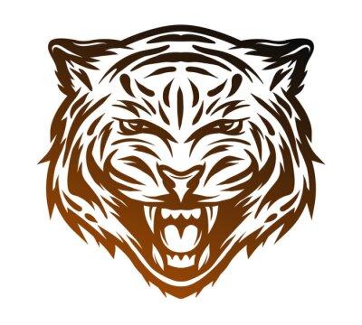 Obraz Agresywne tygrysa twarz. Linia stylu sztuki.