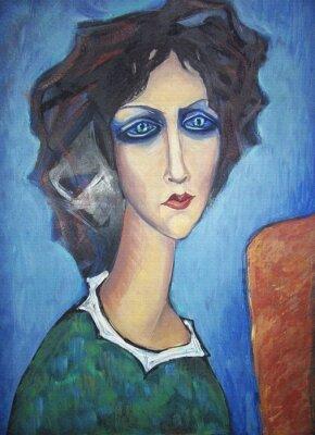 Obraz Akryl kolorowy obraz. Canvas. Portret z długą szyją niebieskooka kobieta w zielonej sukni z białym kołnierzykiem na sztalugach na niebieskim tle. Wystrój wnętrz.