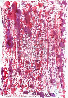 Akwarela abstrakcyjna tła. Różowe, czerwone plamy i smugi.
